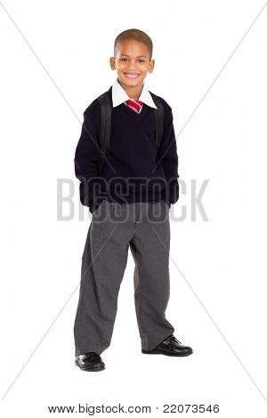 full length studio portrait of male elementary pupil on white