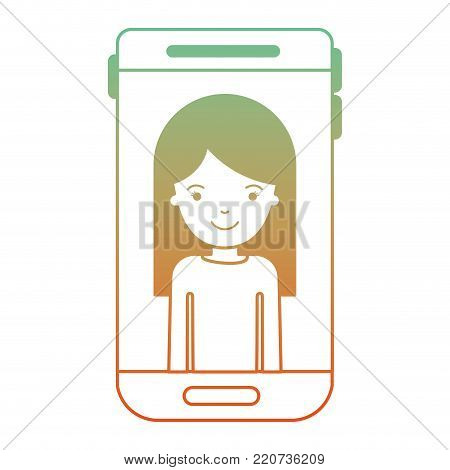 smartphone woman profile picture with long straight hair in degraded green to red color silhouette vector illustration
