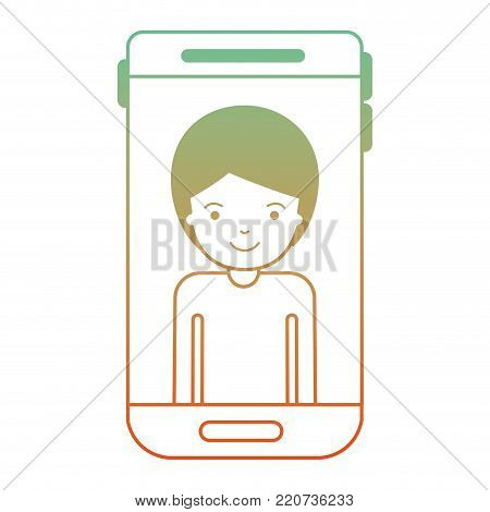 smartphone man profile picture with short hair in degraded green to red color silhouette vector illustration