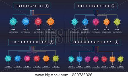 Vector 4 5 6 7 options infographic designs, structure charts, presentation templates. Editable stroke and global swatches.