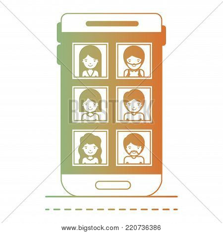 people picture profiles social network in smartphone screen in degraded green to red color silhouette vector illustration