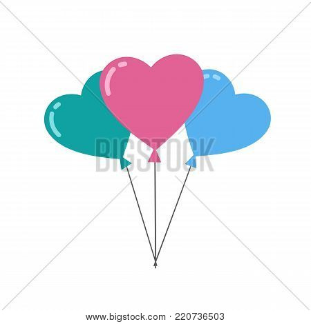 Heart balloons isolated on white background. Valentine's day concept. Vector stock.