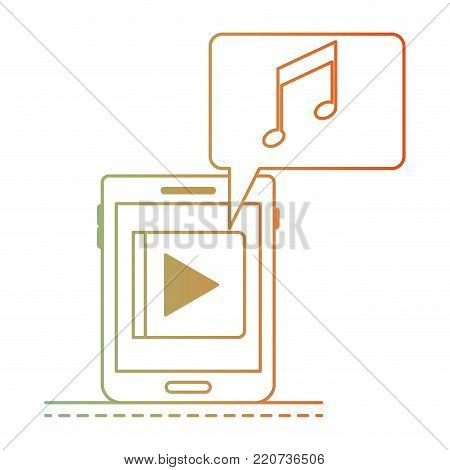 tablet device music app and dialogue box in degraded green to red color silhouette vector illustration