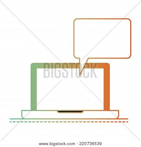 laptop computer with bubble dialogue in degraded green to red color silhouette vector illustration