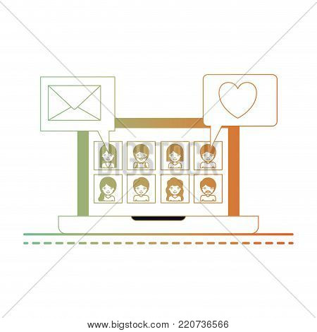 people picture profiles social network in laptop screen with dialogues mail and heart in degraded green to red color silhouette vector illustration