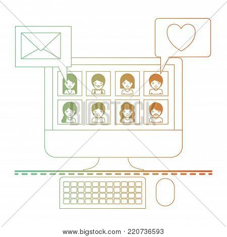 people picture profiles social network in desktop computer screen with dialogues mail and heart in degraded green to red color silhouette vector illustration