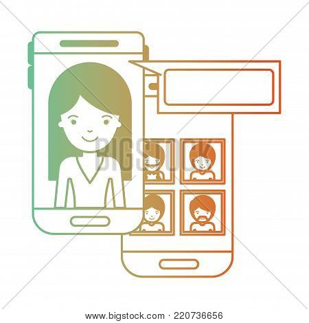 woman and group social network chat in smartphone in degraded green to red color silhouette vector illustration