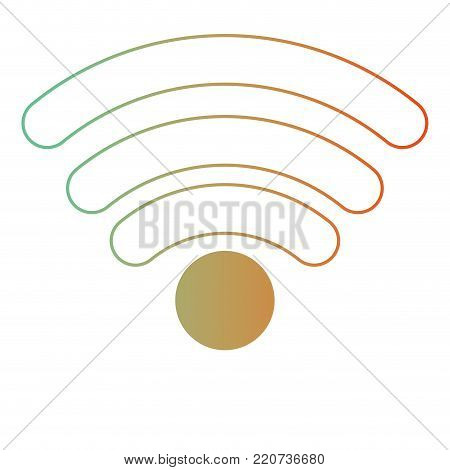 wifi signal icon in degraded green to red color silhouette vector illustration