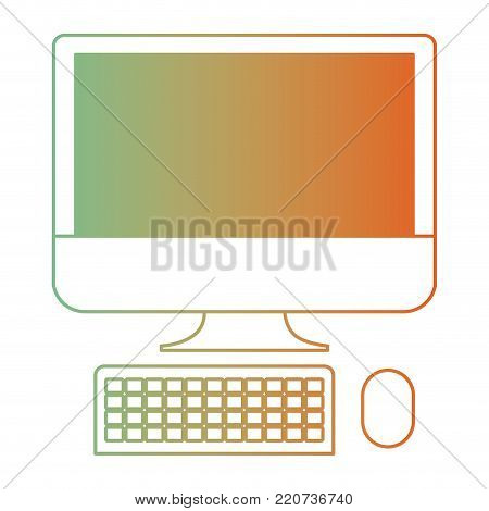 desktop computer icon in degraded green to red color silhouette vector illustration