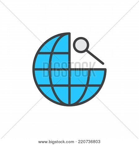 Search global navigation filled outline icon, line vector sign, linear colorful pictogram isolated on white. Earth globe and magnifying glass symbol, logo illustration. Pixel perfect vector graphics