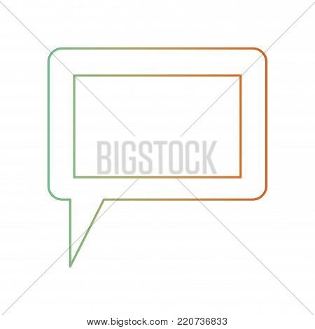 dialogue box icon with tail and frame in degraded green to red color silhouette vector illustration