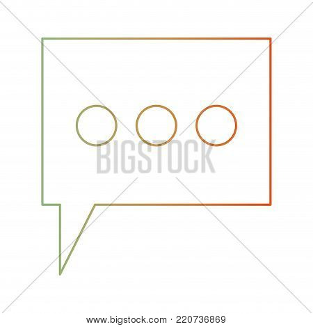 dialogue box with tail and three suspension points in degraded green to red color silhouette vector illustration