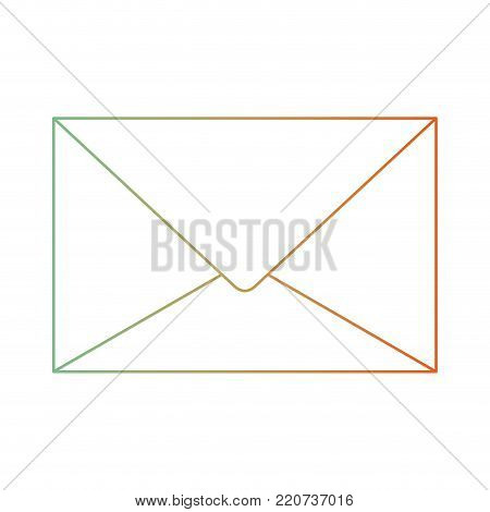 paper envelope icon in degraded green to red color silhouette vector illustration