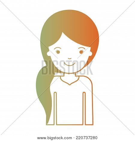 half body woman with pigtail hairstyle in degraded green to red color silhouette vector illustration