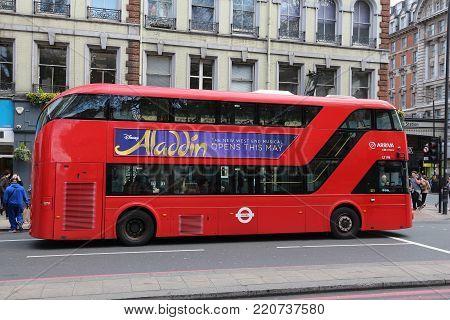 London, Uk - April 23, 2016: People Ride New Routemaster Bus In City Of London. The Hybrid Diesel-el