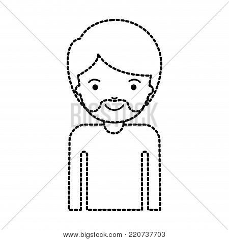 half body man with short hair and van dyke beard in black dotted silhouette vector illustration