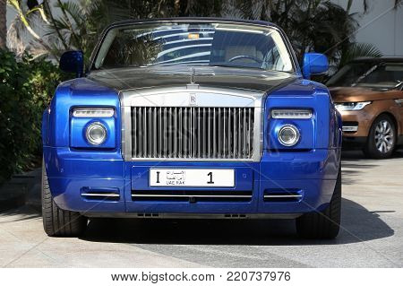 Dubai, Uae - November 23, 2017: Rolls Royce With Ras Al Khaimah License Plate No. 1 Parked In Dubai.