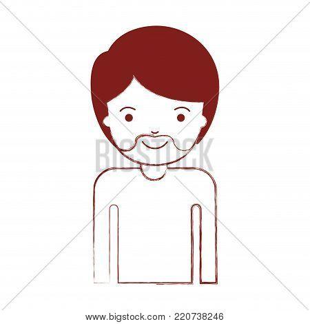 half body man with short hair and van dyke beard in dark red blurred silhouette vector illustration