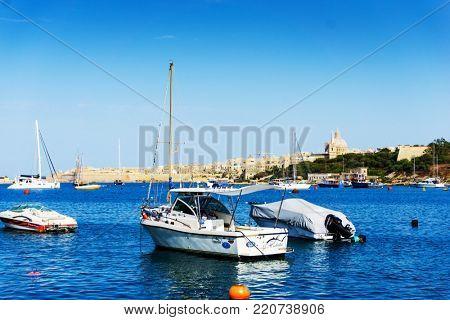 MARSAXLOKK, MALTA - June 28, 2017: antique city building in Valletta,Malta Europe