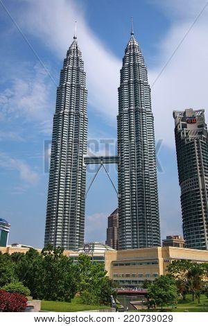 Kuala Lumpur, Malaysia - March 28, 2009: Petronas Towers Skyscrapers In Kuala Lumpur, Malaysia. Petr