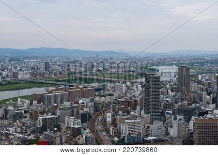 View on a cityscape of downtown Osaka, Japan