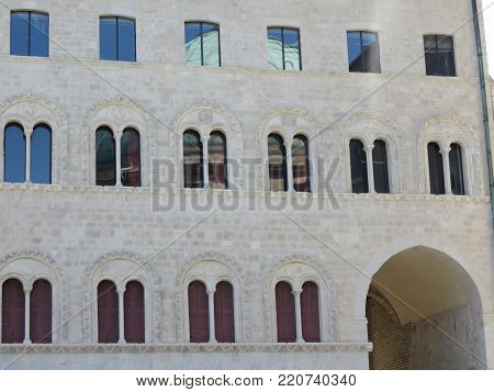 Historical building of the building to the shape and the conformation of its windows everything has an ancient aspect
