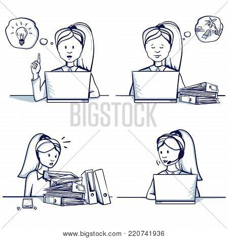 Set of business woman cartoon illustration. Sitting scenes: customer support service, had an idea, she is busy, doesn't have time to work, dreams of a vacation. Hand drawn doodle vector illustration.