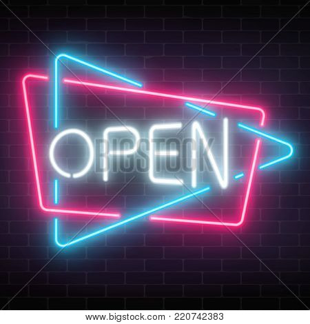 Neon open signboard in triangle and rectangle frames on a dark brick wall background. Round the clock working shop or nightclub sign. Vector illustration.