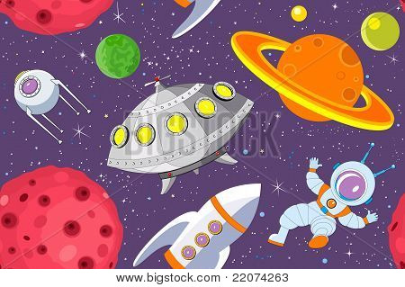 Cartoon Space Seamless Background