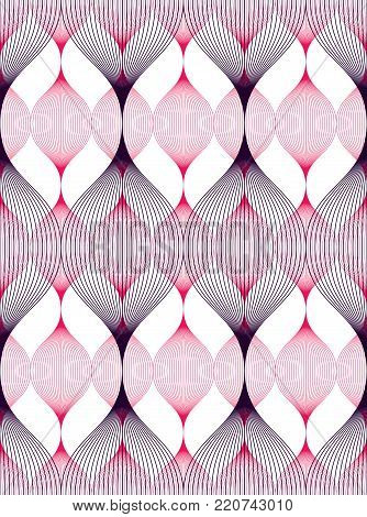 Seamless geometric pattern. Geometric simple fashion fabric print. Vector repeating tile texture. Wavy curve shapes trendy repeat motif. Usable for fabric, wrapping, web and print.