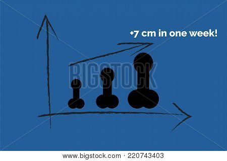 Penis enlargement size concept on blue background