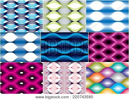 Seamless geometric patterns set. Geometric simple fashion fabric prints. Vector repeating tile textures collection. Wavy curve shapes trendy repeat motif. Usable for fabric, wrapping, web and print.