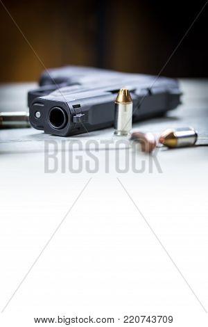 Pistol Handgun And Bullets