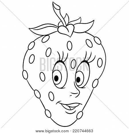 Coloring Book Page Cartoon Strawberry Character Happy Fruit Symbol Food Icon