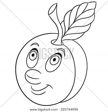 Coloring Book Page Cartoon Plum Character Happy Fruit Symbol Food Icon