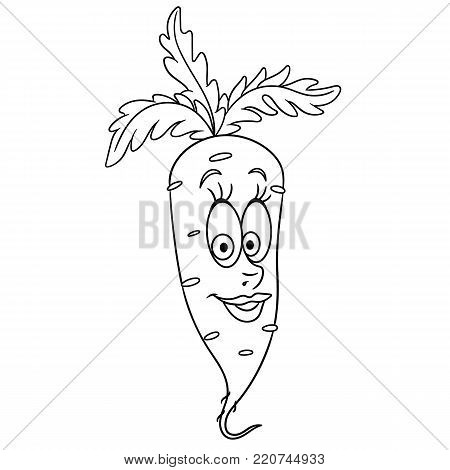 Coloring book. Coloring page. Cartoon Carrot character. Happy vegetable symbol. Food icon. Freehand sketch drawing. Design element for kids t-shirt print, labels, patches or stickers.