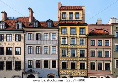 WARSAW, POLAND - OCTOBER 20, 2017: Colorful buildings in the old town of Warsaw, Poland on October 20, 2017