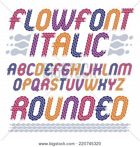 Set of trendy pop vector capital English alphabet letters isolated. Rounded bold italic retro font, typescript can be used as logo design element. Created using waves, flowing lines.