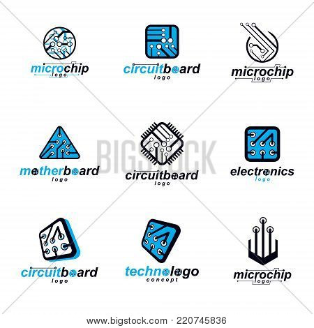 Set of microprocessor scheme abstract logotypes. Futuristic cybernetic vector motherboard. Digital elements, circuit board.
