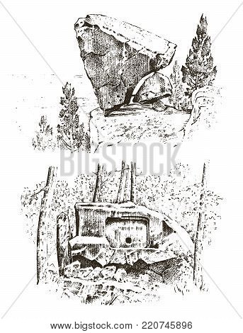 ancient cave. prehistoric house of wood or stone rock with the remains of a man. forest landscape. habitat of pristine civilizations. close up. engraved hand drawn in old sketch, vintage style