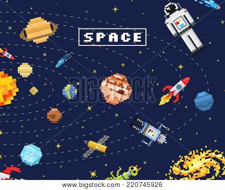 space background, alien spaceman, robot rocket and satellite cubes solar system planets pixel art, digital vintage game style. Mercury, Venus, Earth, Mars, Jupiter, Saturn