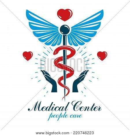 Aesculapius vector abstract business logo for use in medical treatment. Cardiovascular system diseases prevention conceptual emblem.