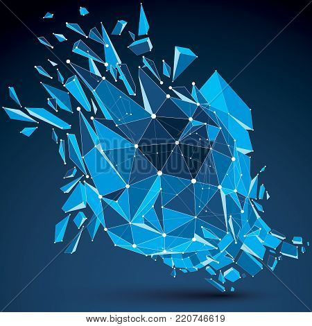 Perspective technology demolished shape with white dotted lines connected, polygonal blue complicated wireframe object. Explosion effect, abstract faceted element cracked into multiple fragments.