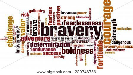 Bravery word cloud concept. Vector illustration on white