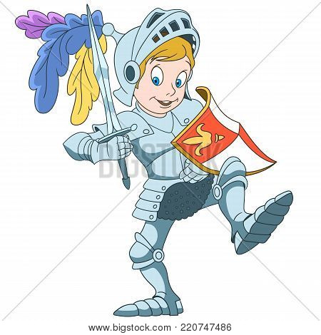 Kids in Professions. Cartoon Knight with shield and sword. Design for children's coloring book.