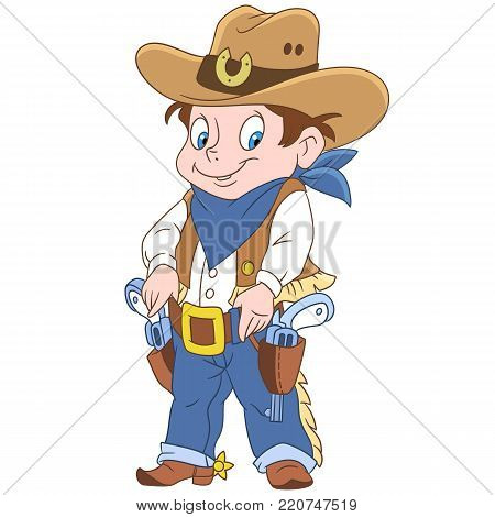 Kids in Professions. Cartoon Sheriff or American Cowboy. Design for children's coloring book.