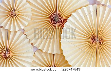 traditional paper medallion, fan decorate the wall on party celebration