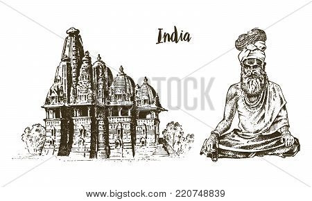 Hindu in national dress. Indian spiritual monk meditating. Traditional religious sadhu. engraved hand drawn in old sketch, vintage style