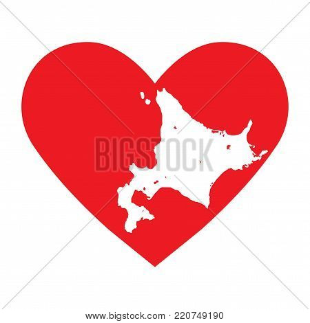 Love Hokkaido vector illustration. Hokkaido island and prefecture map contour in a heart shape.