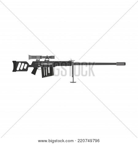 Rifle sniper vector gun icon hunting illustration weapon isolated. Military scope army black war modern target